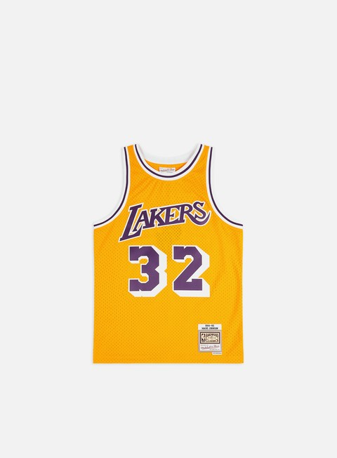 t shirt mitchell e ness la lakers swingman jersey magic johnson yellow purple