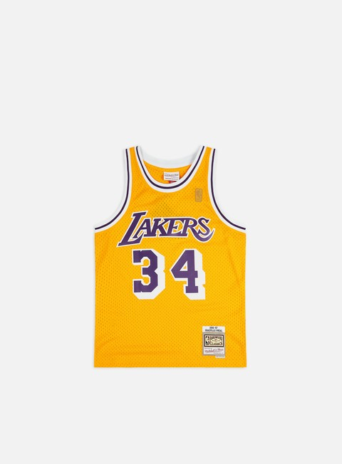 t shirt mitchell e ness la lakers swingman jersey shaquille o neal yellow purple