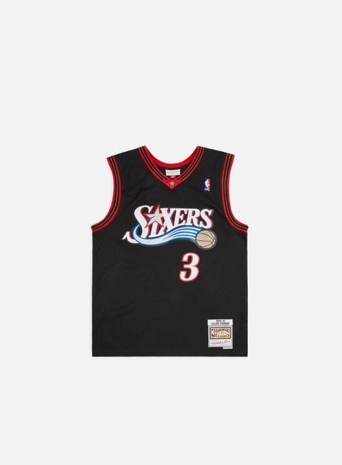 t shirt mitchell e ness philadelphia 76ers swingman jersey allen iverson black white