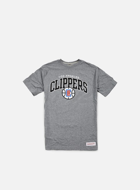 t shirt mitchell e ness team arch tailored t shirt la clippers grey heather