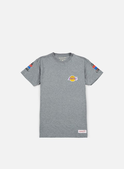 t shirt mitchell e ness team history traditional t shirt la lakers grey