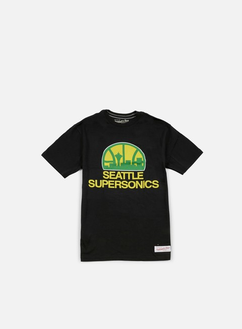 t shirt mitchell e ness team logo tailored t shirt seattle supersonics black