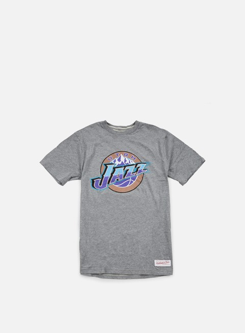 t shirt mitchell e ness team logo tailored t shirt utah jazz grey heather
