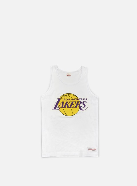 t shirt mitchell e ness team logo tank top la lakers white