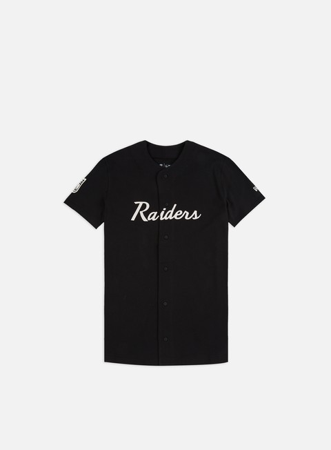 Short Sleeve T-shirts New Era NFL Script Button Up Jersey Oakland Raiders