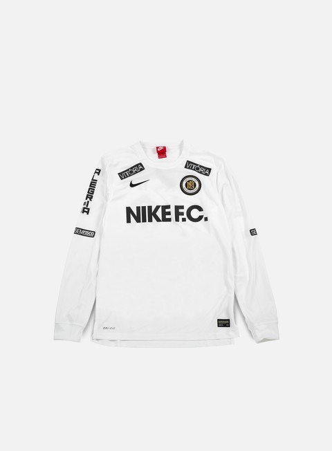 t shirt nike nike fc ls top white black