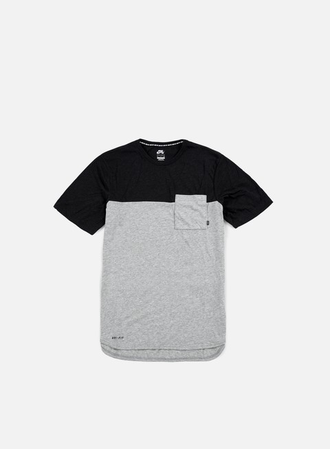 t shirt nike sb dri fit blocket pocket t shirt dark grey heather black heather