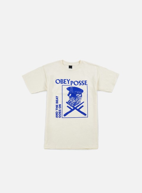 t shirt obey and the beat goes on t shirt cream