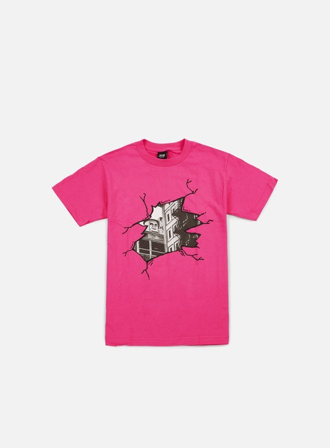t shirt obey cracked icon face t shirt hot pink