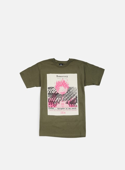 t shirt obey jamie reid democracy gasps for air t shirt military green