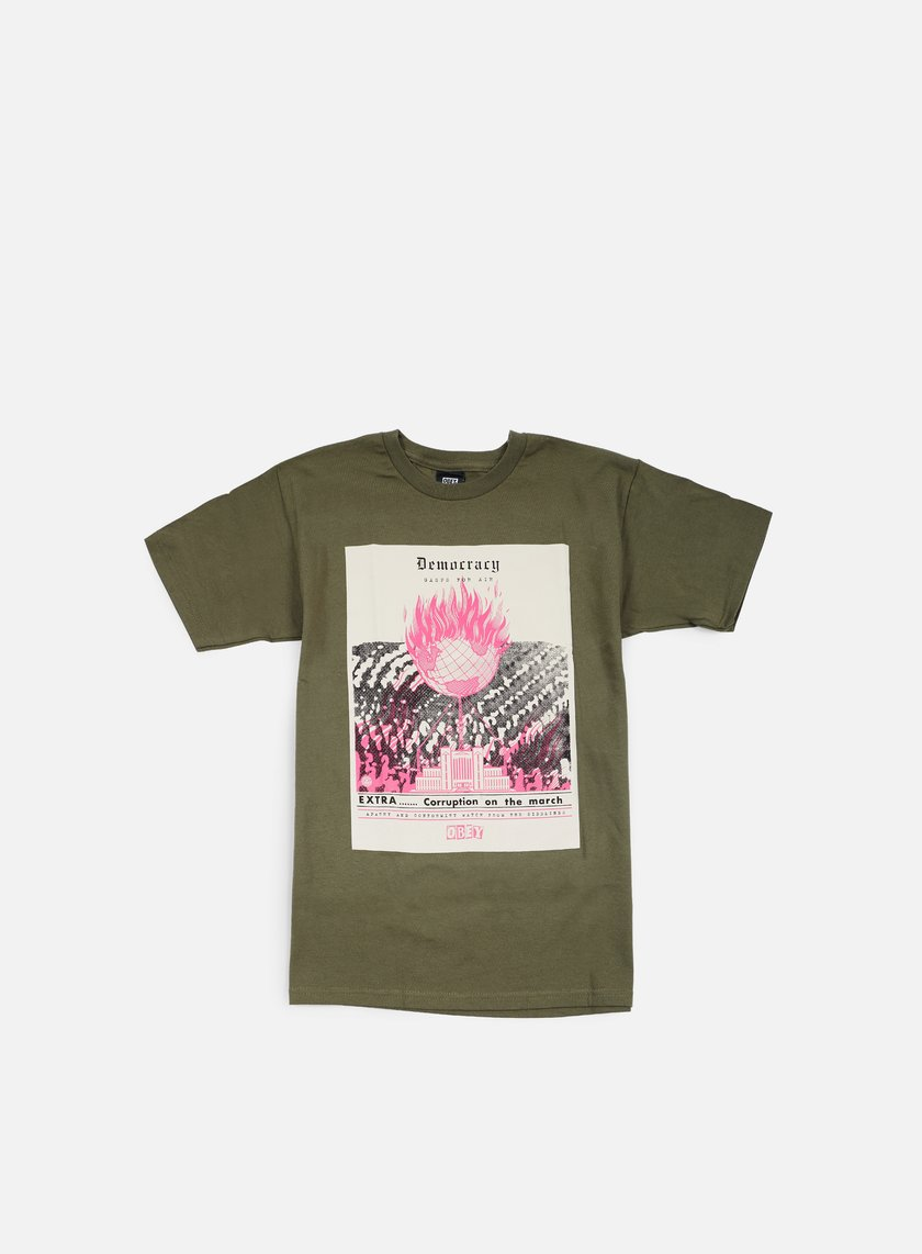 Obey - Jamie Reid Democracy Gasps For Air T-shirt, Military Green