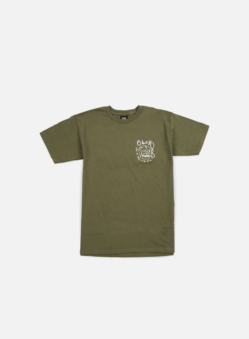 Obey - Life Is Hell T-shirt, Dark Olive