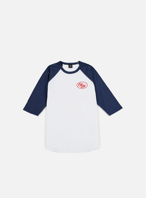 t shirt obey mendenhall script raglan t shirt white navy