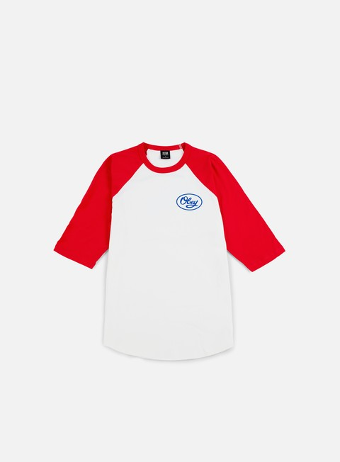 t shirt obey mendenhall script raglan t shirt white red