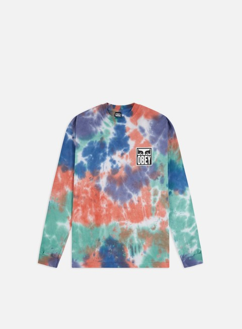 Outlet e Saldi T-shirt a Manica Lunga Obey Obey Eyes Icon Heavyweight Tie-Dye LS T-shirt