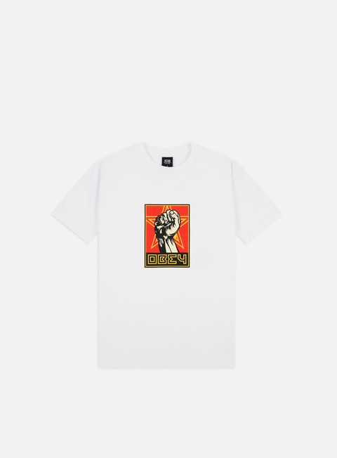 Outlet e Saldi T-shirt a Manica Corta Obey Obey Fist 30 Years Basic T-shirt