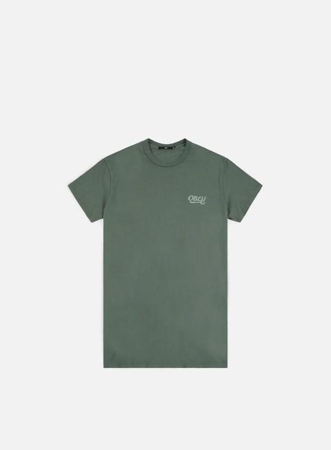 t shirt obey obey skewed script t shirt steel green