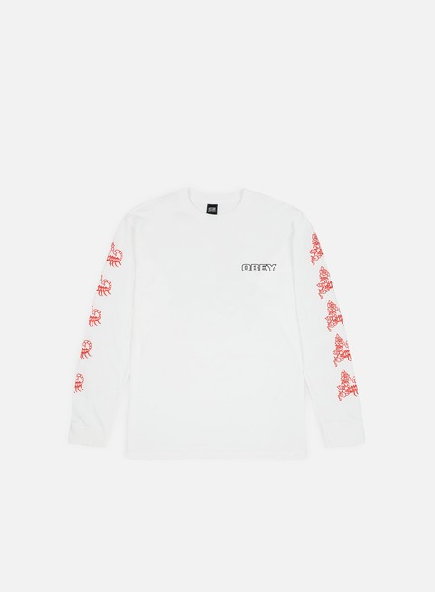 t shirt obey scorpion rose ls t shirt white