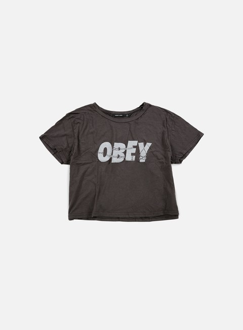 t shirt obey wmns all tied up tiny t shirt dusty black