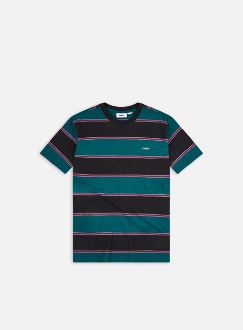 Short sleeve T-shirts Obey Wormly Stripe T-shirt