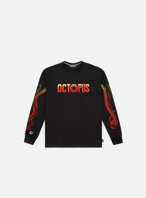 t shirt octopus octopus gradient logo ls t shirt black orange yellow