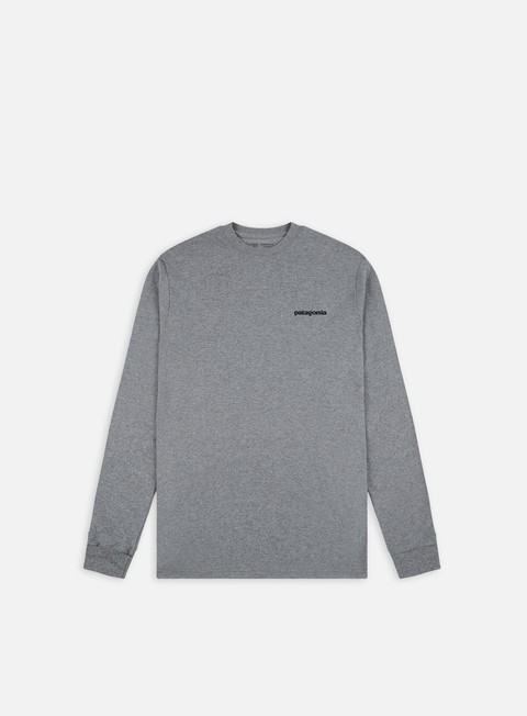 t shirt patagonia p 6 logo ls responsabilitee t shirt gravel heather