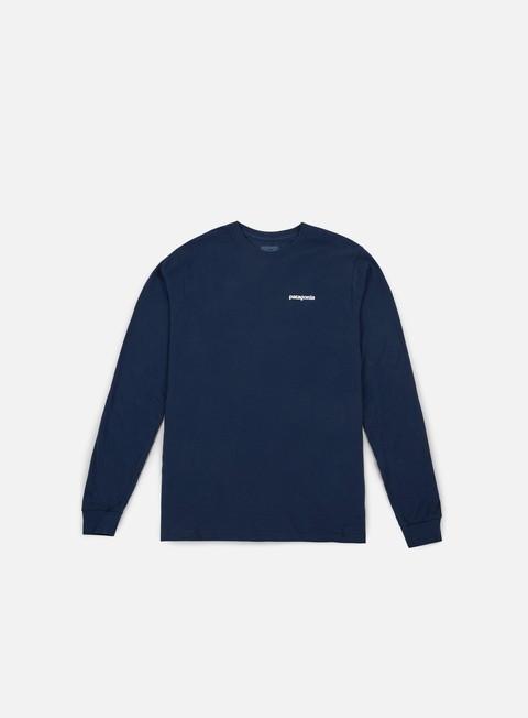 t shirt patagonia p 6 logo ls t shirt navy