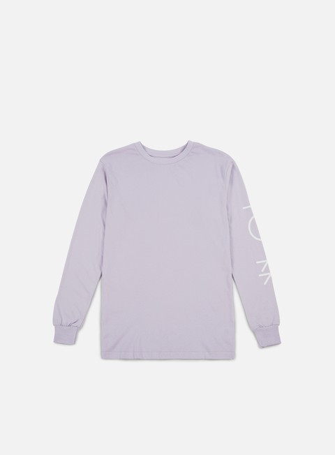 t shirt polar skate script logo ls t shirt dusty lavender white