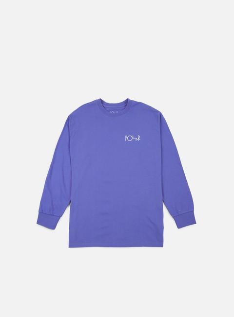 t shirt polar skate stroke logo ls t shirt baja blue