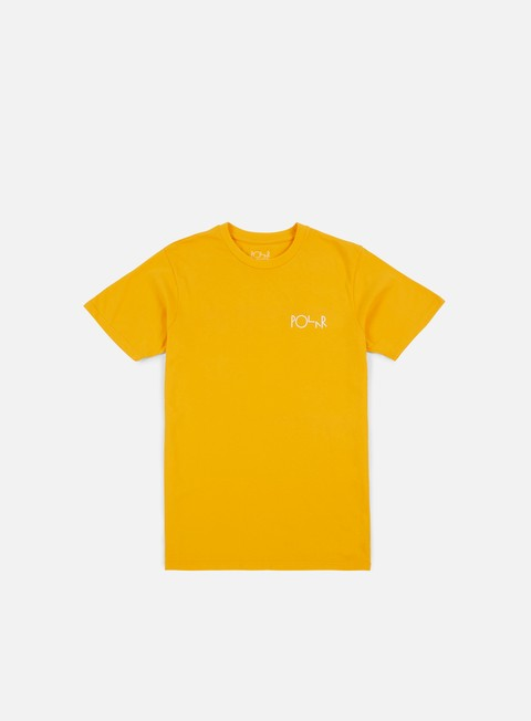 t shirt polar skate stroke logo t shirt yellow white