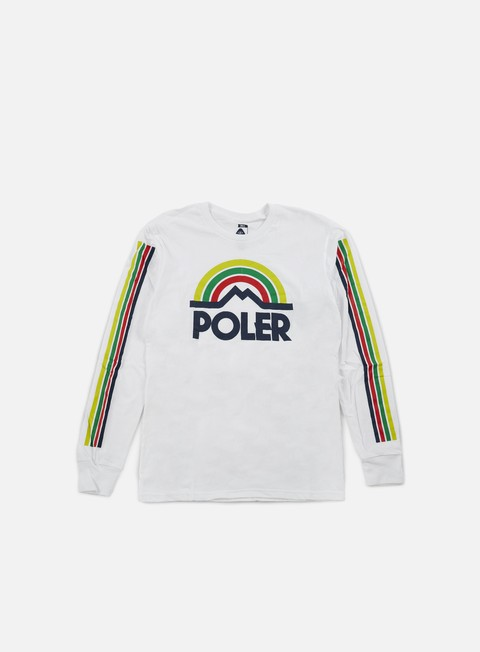 t shirt poler mountain rainbow ls t shirt white