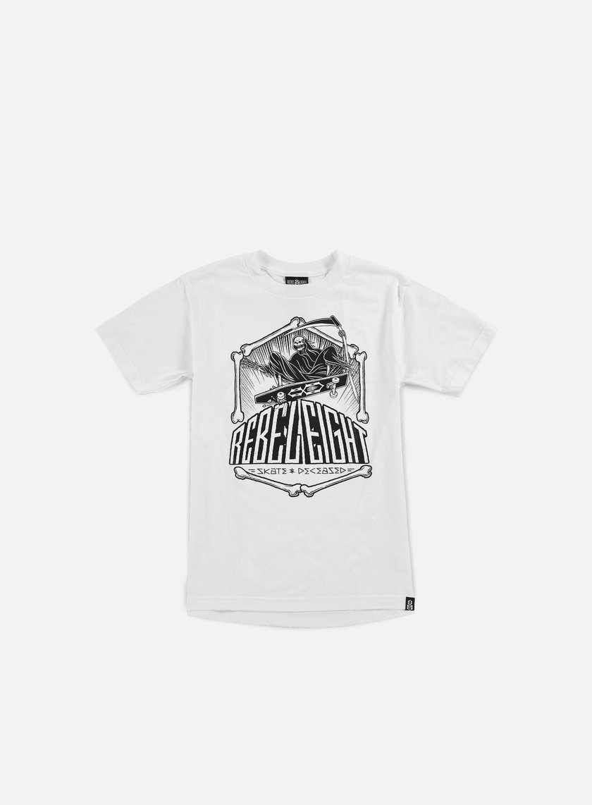 Rebel 8 - Skate And Deceased T-shirt, White