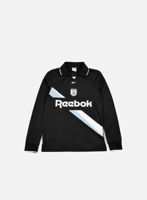 t shirt reebok ls collared training top black