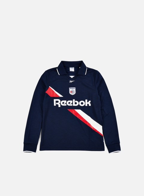 t shirt reebok ls collared training top collegiate navy