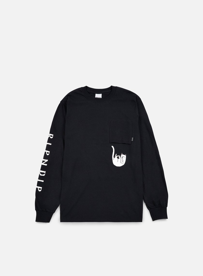 Rip N Dip - Falling For Nermal Pocket LS T-shirt, Black
