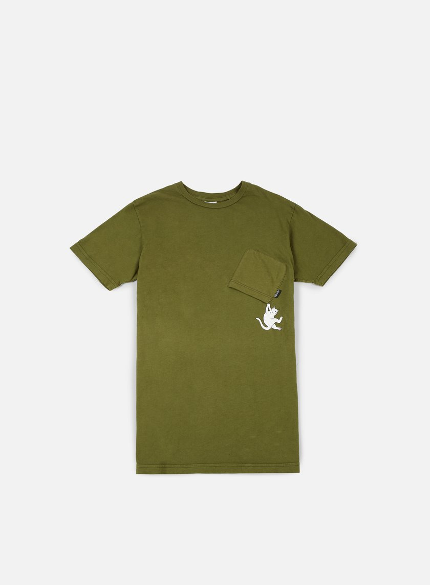 Rip N Dip - Hang In There Pocket T-shirt, Army Green