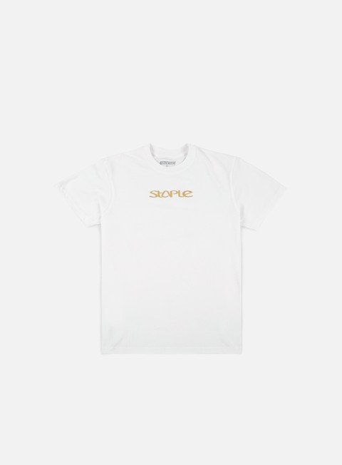 t shirt staple foil logo t shirt white gold