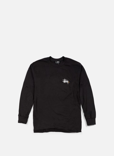 t shirt stussy basic logo paint ls t shirt black