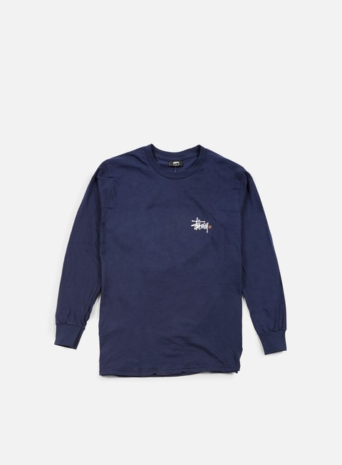 t shirt stussy basic logo paint ls t shirt navy