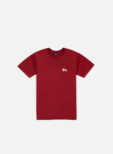 t shirt stussy basic logo t shirt dark red