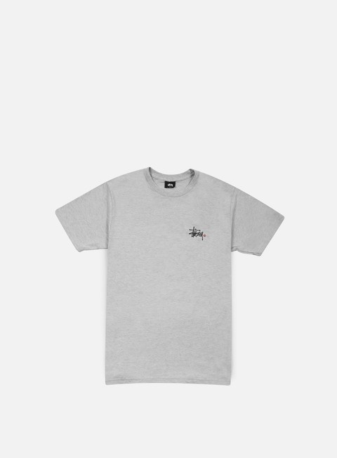 t shirt stussy basic logo t shirt grey heather