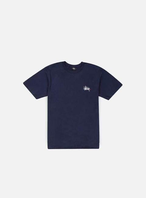 t shirt stussy basic logo t shirt navy