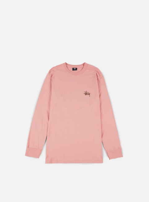 t shirt stussy basic stussy ls t shirt dusty rose chocolate