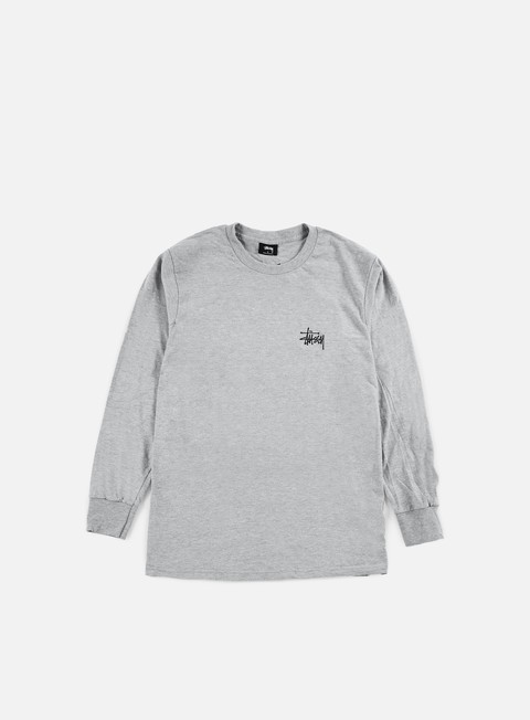 t shirt stussy basic stussy ls t shirt grey heather