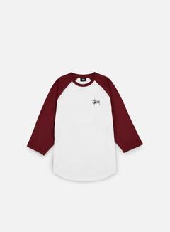 Stussy - Basic Stussy Raglan T-shirt, White/Burgundy 1
