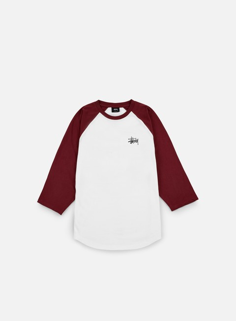 t shirt stussy basic stussy raglan t shirt white burgundy