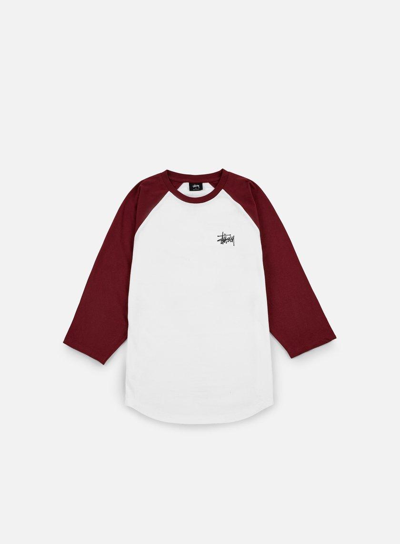 Stussy - Basic Stussy Raglan T-shirt, White/Burgundy