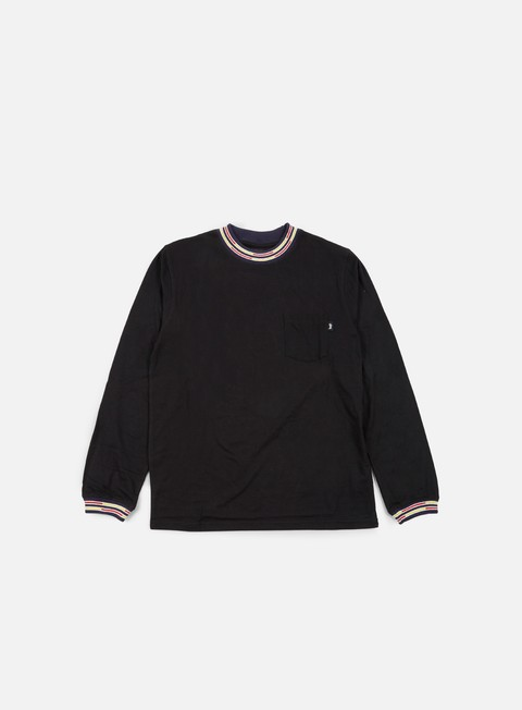 t shirt stussy block stripe jacquard ls t shirt black