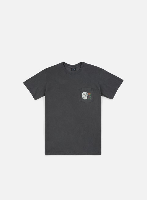 t shirt stussy calavera pigment dyed pocket t shirt black
