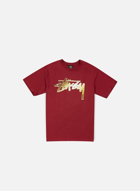 t shirt stussy chrome stock t shirt dark red